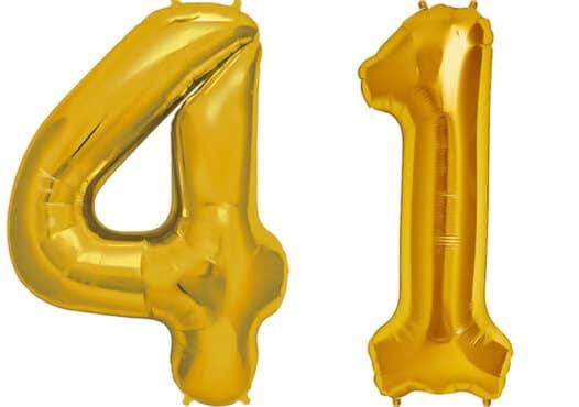 Luftballon Zahl 41 Zahlenballon gold (86 cm)