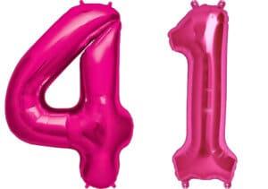 Luftballon Zahl 41 Zahlenballon pink (86 cm)