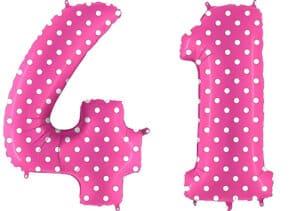Luftballon Zahl 41 Zahlenballon pink mit weißen Punkten (100 cm)