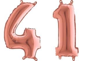 Luftballon Zahl 41 Zahlenballon rosegold (66 cm)