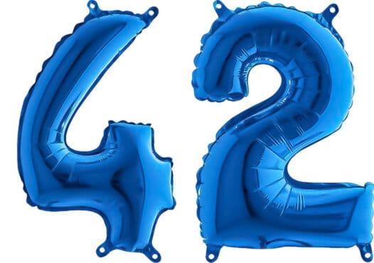Luftballon Zahl 42 Zahlenballon blau (66 cm)
