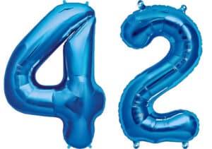 Luftballon Zahl 42 Zahlenballon blau (86 cm)