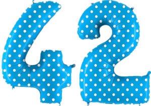 Luftballon Zahl 42 Zahlenballon blau mit weißen Punkten (100 cm)