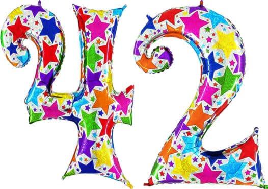 Luftballon Zahl 42 Zahlenballon silber mit bunten Sternen (100 cm)