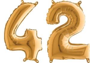 Luftballon Zahl 42 Zahlenballon gold (66 cm)