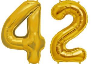 Luftballon Zahl 42 Zahlenballon gold (86 cm)