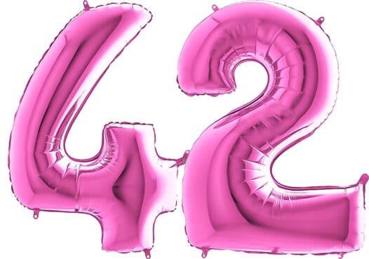 Luftballon Zahl 42 Zahlenballon pink (66 cm)