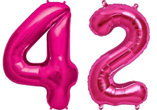 Luftballon Zahl 42 Zahlenballon pink (86 cm)