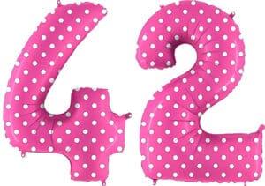 Luftballon Zahl 42 Zahlenballon pink mit weißen Punkten (100 cm)