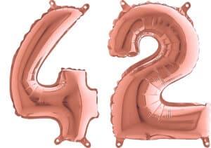 Luftballon Zahl 42 Zahlenballon rosegold (66 cm)