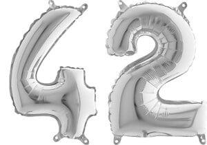 Luftballon Zahl 42 Zahlenballon silber (66 cm)