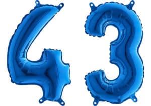 Luftballon Zahl 43 Zahlenballon blau (66 cm)