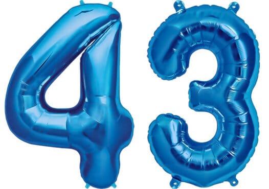 Luftballon Zahl 43 Zahlenballon blau (86 cm)