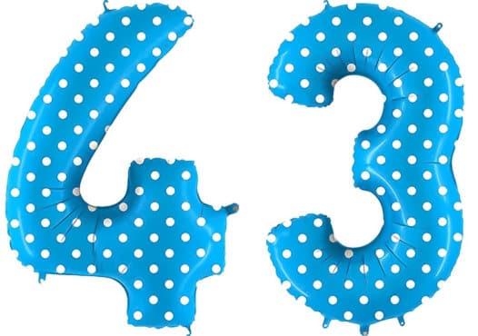Luftballon Zahl 43 Zahlenballon blau mit weißen Punkten (100 cm)