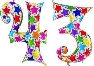 Luftballon Zahl 43 Zahlenballon silber mit bunten Sternen (100 cm)