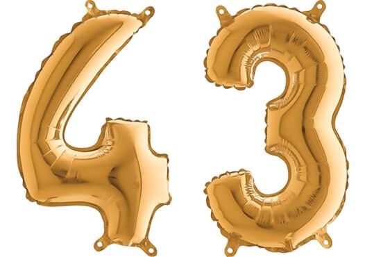 Luftballon Zahl 43 Zahlenballon gold (66 cm)