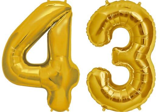 Luftballon Zahl 43 Zahlenballon gold (86 cm)