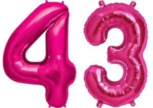 Luftballon Zahl 43 Zahlenballon pink (86 cm)