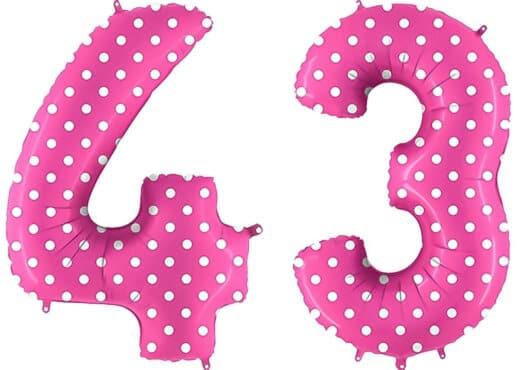 Luftballon Zahl 43 Zahlenballon pink mit weißen Punkten (100 cm)