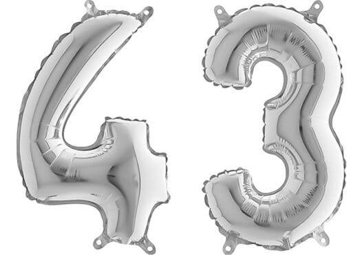 Luftballon Zahl 43 Zahlenballon silber (66 cm)