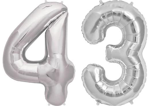 Luftballon Zahl 43 Zahlenballon silber (86 cm)