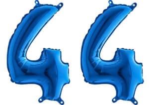 Luftballon Zahl 44 Zahlenballon blau (66 cm)
