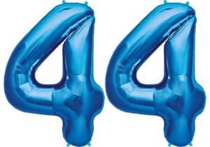 Luftballon Zahl 44 Zahlenballon blau (86 cm)
