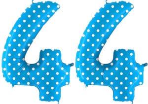 Luftballon Zahl 44 Zahlenballon blau mit weißen Punkten (100 cm)