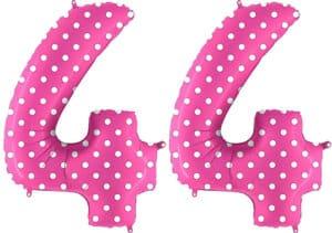 Luftballon Zahl 44 Zahlenballon pink mit weißen Punkten (100 cm)