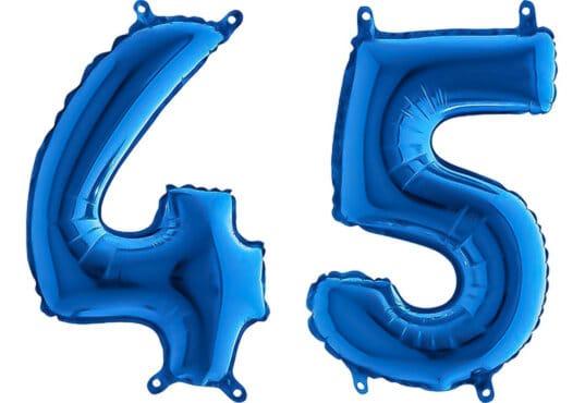 Luftballon Zahl 45 Zahlenballon blau (66 cm)