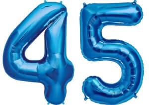 Luftballon Zahl 45 Zahlenballon blau (86 cm)