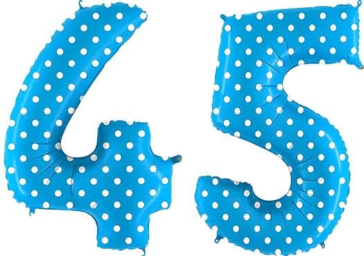 Luftballon Zahl 45 Zahlenballon blau mit weißen Punkten (100 cm)