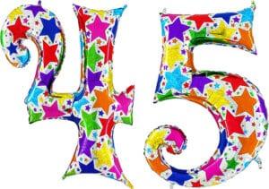 Luftballon Zahl 45 Zahlenballon silber mit bunten Sternen (100 cm)