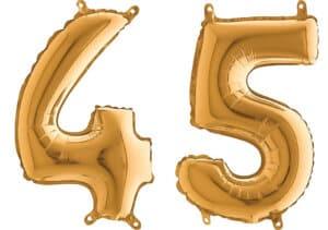 Luftballon Zahl 45 Zahlenballon gold (66 cm)