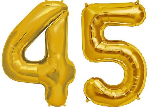 Luftballon Zahl 45 Zahlenballon gold (86 cm)
