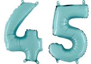 Luftballon Zahl 45 Zahlenballon pastell-blau (100 cm)
