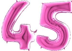 Luftballon Zahl 45 Zahlenballon pink (66 cm)