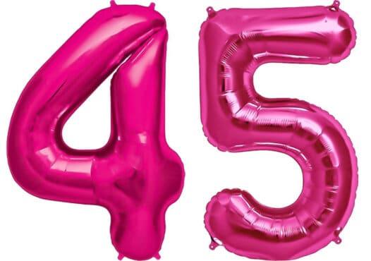 Luftballon Zahl 45 Zahlenballon pink (86 cm)