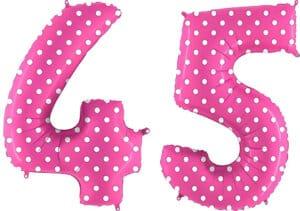 Luftballon Zahl 45 Zahlenballon pink mit weißen Punkten (100 cm)