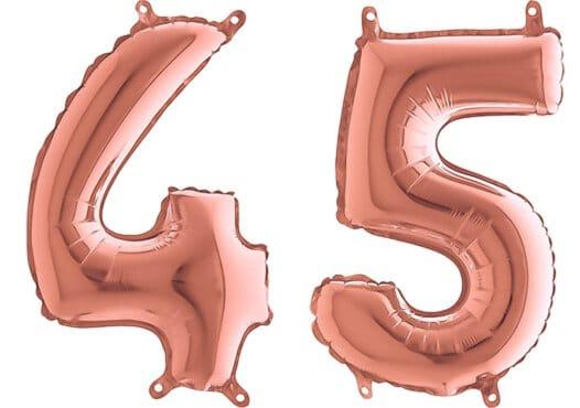 Luftballon Zahl 45 Zahlenballon rosegold (66 cm)