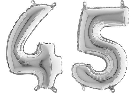 Luftballon Zahl 45 Zahlenballon silber (66 cm)
