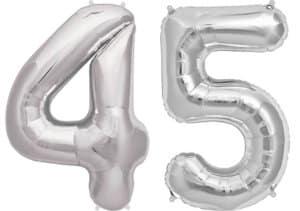 Luftballon Zahl 45 Zahlenballon silber (86 cm)