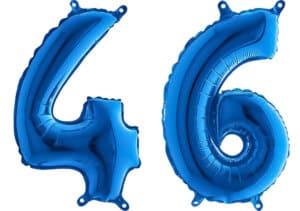 Luftballon Zahl 46 Zahlenballon blau (66 cm)