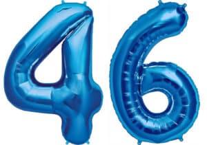 Luftballon Zahl 46 Zahlenballon blau (86 cm)