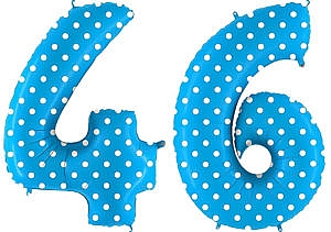 Luftballon Zahl 46 Zahlenballon blau mit weißen Punkten (100 cm)