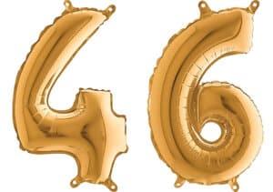 Luftballon Zahl 46 Zahlenballon gold (66 cm)
