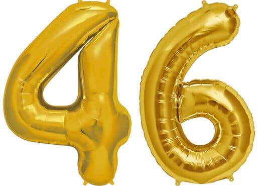 Luftballon Zahl 46 Zahlenballon gold (86 cm)