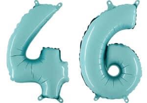 Luftballon Zahl 46 Zahlenballon pastell-blau (100 cm)
