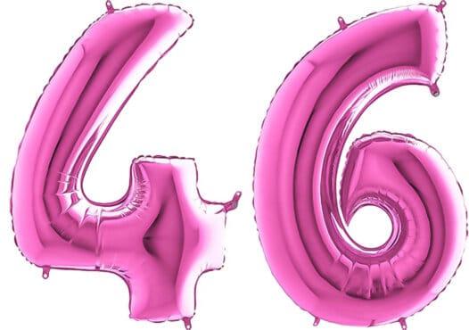 Luftballon Zahl 46 Zahlenballon pink (66 cm)