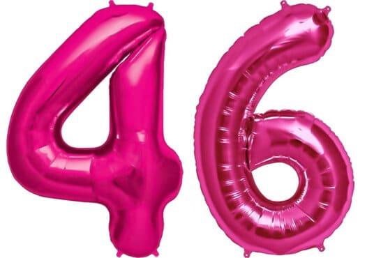 Luftballon Zahl 46 Zahlenballon pink (86 cm)